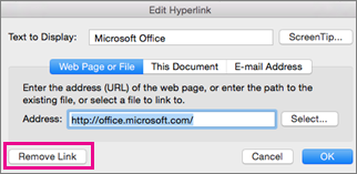 remove hyperlink in word