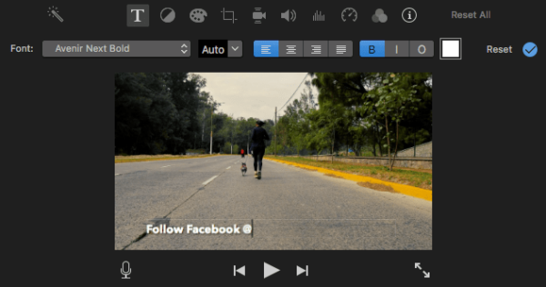 add text to video imovie03