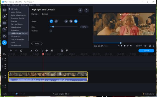 blur face in video movavi 3