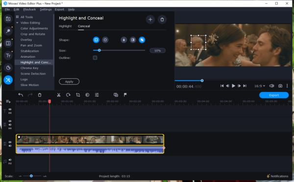 blur face in video movavi 4