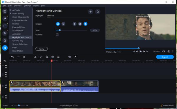blur face in video movavi 7